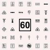 icône du signe 60 de limitation de vitesse Ensemble universel d'icônes ferroviaires d'avertissements pour le Web et le mobile illustration stock