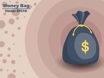 Icône du vecteur EPS10 de sac d'argent avec le symbole dollar couleur et Backgrou Images stock