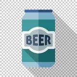 Icône en aluminium de canette de bière dans le style plat sur le fond transparent illustration libre de droits