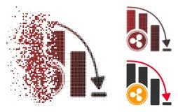 Icône en baisse pointillée détruite de diagramme d'accélération d'ondulation tramée Illustration Stock