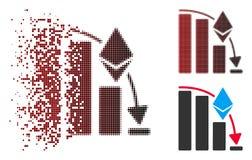 Icône en baisse tramée de désintégration de diagramme d'accélération de Pixelated Ethereum Illustration Libre de Droits