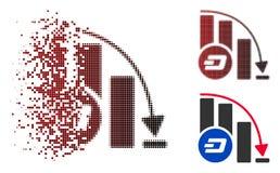 Icône en baisse tramée de diagramme d'accélération de Dashcoin de pixel d'étincelle Illustration Libre de Droits