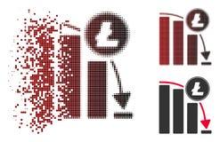 Icône en baisse tramée de disparition de diagramme d'accélération de Litecoin de pixel Illustration Stock