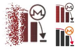 Icône en baisse tramée de disparition de graphique d'accélération de Monero de pixel Illustration Stock