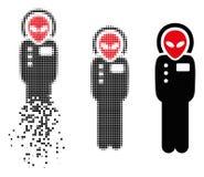 Icône endommagée de Dot Halftone Alien Visitor Skafandr illustration libre de droits