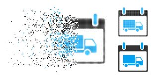 Icône endommagée de jour de Dot Halftone Delivery Car Calendar illustration libre de droits