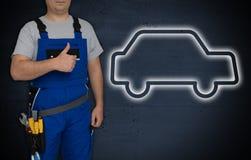 Icône et artisan de voiture avec des pouces  image stock