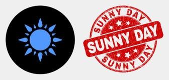 Icône et grunge Sunny Day Stamp de soleil de vecteur illustration de vecteur