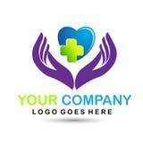 Icône et main médicales de logo de soins de santé illustration de vecteur