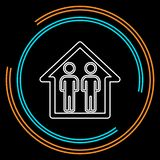 Icône et maison de famille de silhouette illustration libre de droits