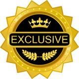 Icône exclusive de label d'insigne de bouclier d'or illustration de vecteur