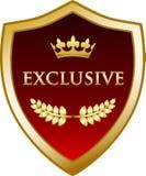Icône exclusive de label de médaille de bouclier de couronne d'or illustration stock