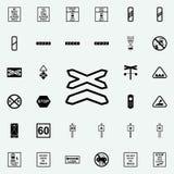icône ferroviaire multiligne Ensemble universel d'icônes ferroviaires d'avertissements pour le Web et le mobile illustration stock