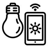 Icône futée de contrôle d'ampoule, style d'ensemble illustration stock