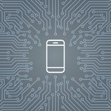 Icône futée de téléphone de cellules au-dessus d'ordinateur Chip Moterboard Background Banner Image stock