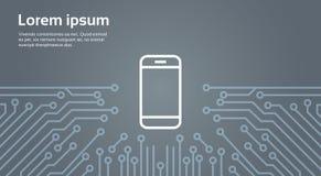 Icône futée de téléphone de cellules au-dessus d'ordinateur Chip Moterboard Background Banner Photo libre de droits