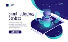 Icône futée de technologie isométrique, assistant de robot d'intelligence artificielle, chatbot, analyse de données photo stock