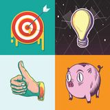 Icône graphique d'illustration d'investissement productif de buts de l'épargne de cible d'idée illustration stock