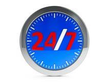 Icône 24 heures sur 24 de service avec le point culminant Photos stock