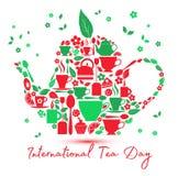 Icône internationale de jour de thé - théière avec les icônes du thé illustration libre de droits