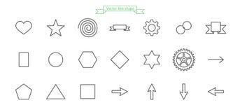 Icône, ligne, ensemble, grand, amour, forme, coeur, étoile, spirale, drapeau, ruban, vitesse, anneau, chaîne, cercle, hexagone, p illustration stock
