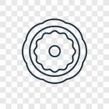 Icône linéaire de bagels de vecteur juif de concept d'isolement sur transparent illustration stock