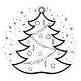 Icône linéaire de style d'arbre de Noël image stock