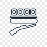 Icône linéaire de tir de vecteur de concept sur le dos transparent illustration libre de droits