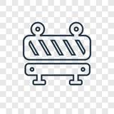 Icône linéaire de vecteur de concept de barrière d'isolement sur le backg transparent illustration libre de droits