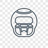 Icône linéaire de vecteur de concept de casque de football américain d'isolement dessus illustration de vecteur