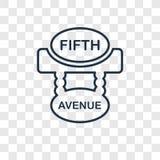 Icône linéaire de vecteur de concept de Cinquième Avenue d'isolement sur transparent illustration libre de droits