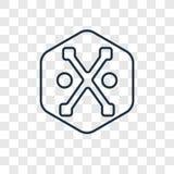 Icône linéaire de vecteur de concept de conseils de dieux d'isolement sur transparent illustration de vecteur
