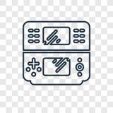 Icône linéaire de vecteur de concept de console de jeu d'isolement sur transparent illustration libre de droits