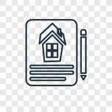 Icône linéaire de vecteur de concept de contrat d'isolement sur le dos transparent illustration de vecteur
