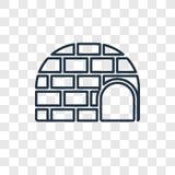 Icône linéaire de vecteur de concept d'igloo d'isolement sur le backgro transparent illustration de vecteur