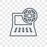 Icône linéaire de vecteur de concept d'ordinateur et de réseau sur le tran illustration libre de droits