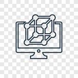 Icône linéaire de vecteur de concept d'ordinateur d'isolement sur le dos transparent illustration de vecteur