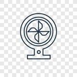 Icône linéaire de vecteur de concept de fan d'isolement sur le backgroun transparent illustration de vecteur