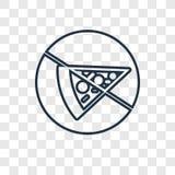 Icône linéaire de vecteur de concept de pizza d'isolement sur le backgro transparent illustration de vecteur