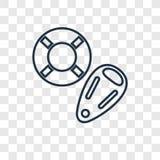 Icône linéaire de vecteur de concept de sauveteur d'isolement sur le backg transparent illustration libre de droits