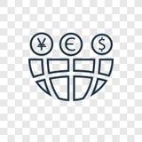 Icône linéaire de vecteur mondial de concept d'isolement sur le CCB transparent illustration libre de droits