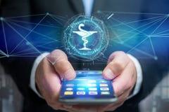 Icône médicale de pharmacie sur une interface futuriste images libres de droits
