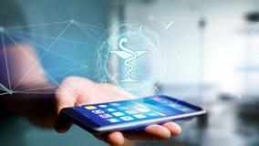 Icône médicale de pharmacie sur une interface futuriste photos stock