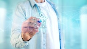 Icône médicale de pharmacie sur une interface futuriste photos libres de droits