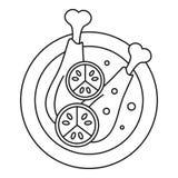 Icône mexicaine de jambes de poulet, style d'ensemble illustration stock