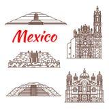 Icône mexicaine de point de repère de voyage de pyramide et d'église illustration de vecteur