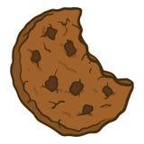 Icône mordue de biscuit de choco, style tiré par la main illustration de vecteur