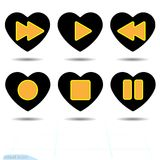 Icône noire de coeur, symbole d'amour Ensemble de boutons oranges de media player au coeur Signe de jour de valentines, emblème,  Photo libre de droits