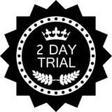 Icône noire de luxe d'essai de deux jours d'insigne illustration de vecteur