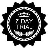 Icône noire de luxe d'essai de sept jours d'insigne illustration de vecteur